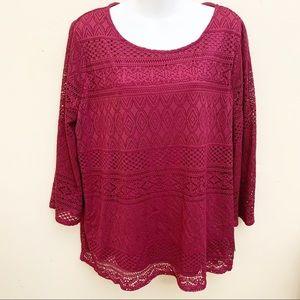 Dana Buchman Lace Bell-Sleeve Top Size XL